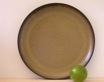 Denby Romany Brown dinner plate, 1970s English stoneware.