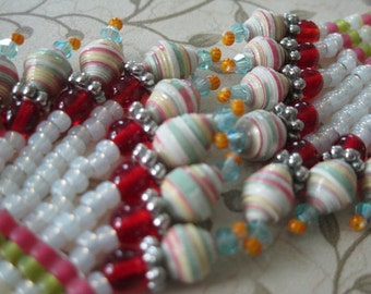 Seed Bead Chandelier Earrings - Pink green and milky white with paper beads