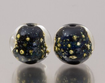 Glass Bead Pair - Shimmer in black. Lampwork glass beads by Jennie Yip
