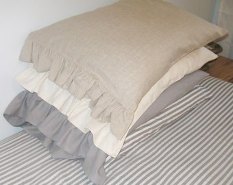 TWO LINEN King Size Ruffled Shams
