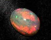 55% OFF SALE 0.80 Ctw 9x7 mm AAA Natural Multi Color Play Ethiopian Welo Fire Opal Smooth Oval Cabochon / Loose Gemstone Opc200