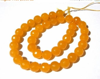 55% Sale 14 Inches - Finest Quality Natural Yellow Agate Faceted Round Beads, Size 10x10mm approx