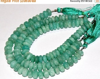 55% Sale 3x8 Inches 7-10mm Finest Quality Natural Amazonite Smooth Rondelle Beads / Semiprecious Gemstone Beads