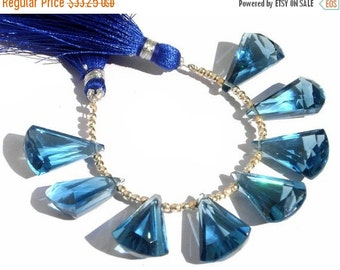 55% OFF SALE 1/2 Strand - Extremely Beautiful AAA London Blue Quartz Faceted Elongated Fan Shaped Fancy Briolettes Size 20x13mm