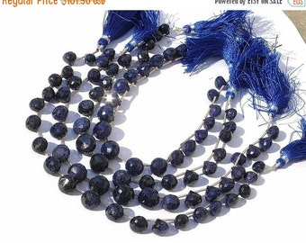 55% OFF SALE 9 Inches - Natural Blue Sapphire Micro Faceted Onion Briolettes Size 7 - 10mm approx