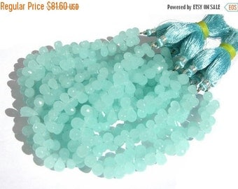 55% OFF SALE Full 8 Inches Aqua Chalcedony Faceted Drop Briolettes Size 6x4mm - 8x5mm approx Finest Quality Wholesale Price