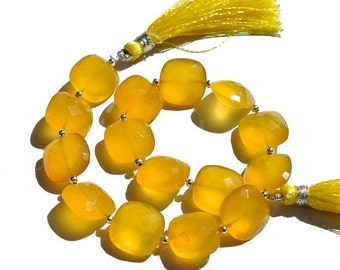 55% OFF SALE 9 Inches - 14mm AAA Yellow Chalcedony Straight Drilled Faceted Cushion Briolettes Yellow Chalcedony Cushions