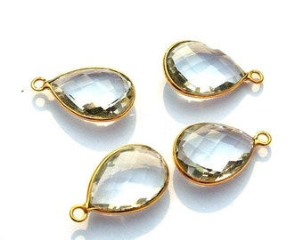 50% Off Valentine day 2Pcs 1 Matched Pair 22kt Gold Vermeil AAA Rock Crystal Quartz Faceted Pear Shape Bezels, Size 22x13.5mm Gold Vermeil O