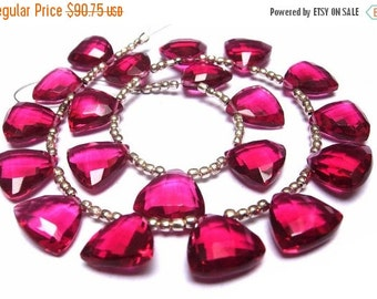 50% Off Valentine day Wholesale - Super Finest AAA Rubelite Hot Pink Quartz Faceted Trillion Shaped Briolettes (Calibrated Size 12x12mm appr
