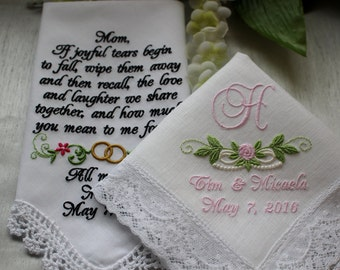 Two (2) Custom Wedding Handkerchiefs for Bride and Mother of the Bride, Wedding Handkerchiefs. Hankies, Hankys