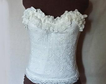 Vintage goddess ivory lace bustier size 36B