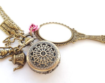 Beauty and The Beast Pocket Watch Eiffel Tower Rose Antique Gold Mirror Necklace