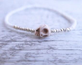 Skull Bracelet Sugar Skull Day of the Dead Skull Beaded Skull Turquoise Howlite Skull Crystal Skull