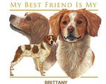 BRITTANY DOGS stating Best Friends. TWELVE Identical 6 inch Fabric Squares for Quilting and Sewing