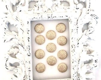 10 PCS Sparkle flat back glitter Button - No shank - 20mm - Choose gold or silver