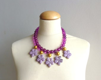 Purple flowers statement necklace bib necklace large necklace chunky necklace