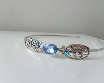 Leaf stone silver metal headband or tiara vintage style