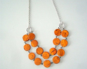 chunky Orange necklace with mother of pearls necklace