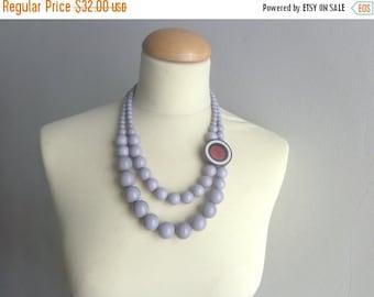 Grey black white purple Statement necklace multi strand necklace