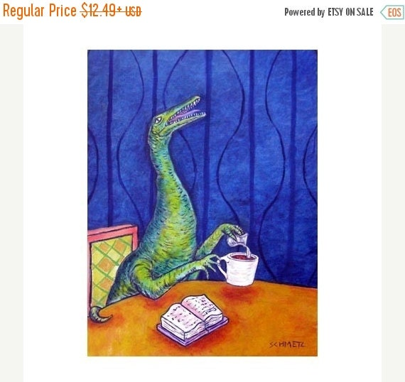 10% off SALE Procompsognathus at the coffee Shop Dinosaur Art Print