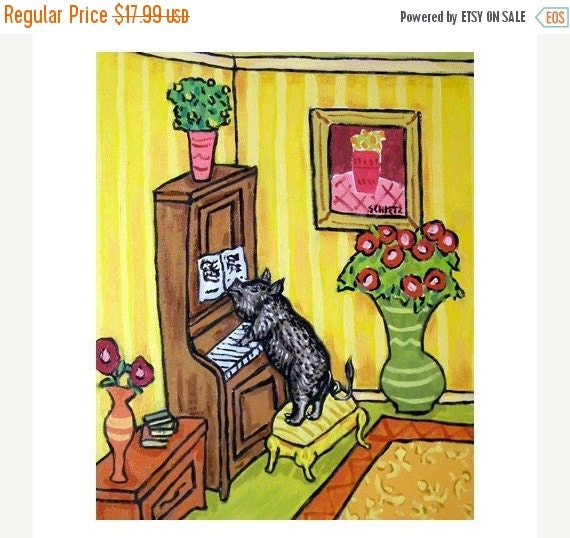 10% off SALE Pot Belly Pig Playing Piano Dog Art Print