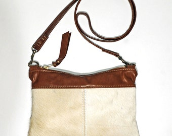 Small Cross body Purse in White Hair On Cowhide Leather with Saddle Tan Leather Handbag