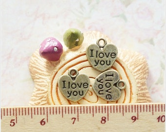 10 pcs I Love You Phrase Word Tag Label Heart Shape metal charm Antique Brass color