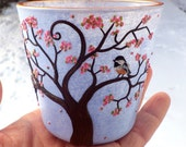Tiny Chickadee sits in a Spring Blossom Tree Sculpted with Polymer Clay onto a Small Recycled Glass Candle Holder