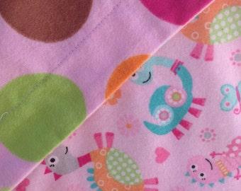 DINOSAUR BABY BLANKET--Pink Dinosaurs--Circles Dots Polka Dots--Flannel Receiving Blanket--Toddler Blanket--Floor Mat---Tummy Time