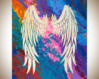 Angels wing Colorful painting original artwork blue green purple turquoise wall art wall decor home decor spiritual art - qiqigallery