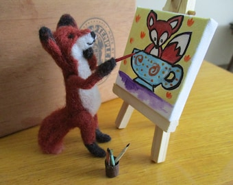 Needle Felted Francine Fox the Artist