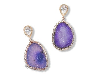 Druzy earrings | druzy drop earrings | Purple druzy earrings | Bohemian Luxe | druzy Statement Earrings | druzy stone earrings | druzy