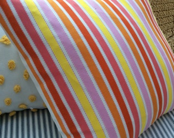 BOHO /French CoTTaGe Faux Down Pillow/16x16/Decorative Pillow/stripe/yellow/Orange/White