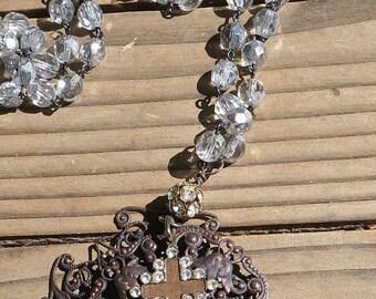 Beautiful Rustic, Elegant assemblage necklace