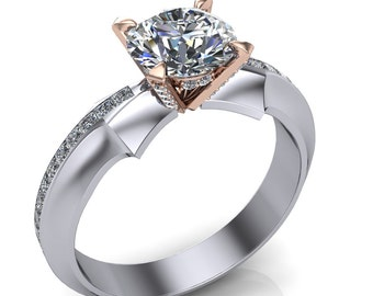 Diamond Engagement Ring, Diamond Studded Cocktail Setting in Arrow Band