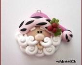 SALE Polymer Clay Pink Zebra Trim Santa Claus Charm Pendant