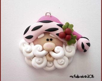 Polymer Clay Pink Zebra Trim Santa Claus Charm Pendant
