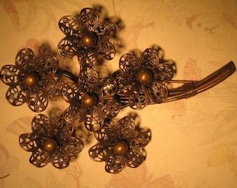 Beautiful Ornate Filigree Floral Brooch Pin