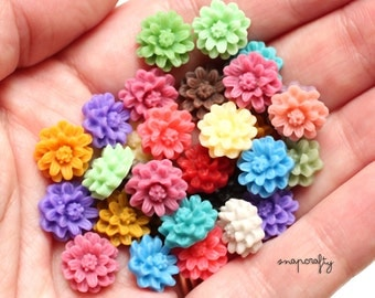 20pc cutest daisy resin flower cabochons / 10 pairs small flower flatback cabs pastel + bright colors for stud earrings / embellishments
