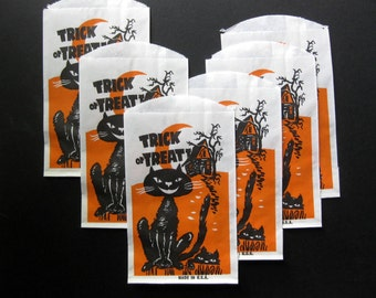 Vintage Trick or Treat Bags, Six, Scary Cat, Haunted House, Halloween