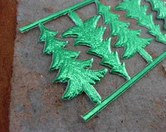 Green Embossed Miniature Trees, German Dresden Paper Scraps (5)