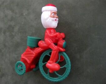 Vintage Wind Up Santa on Bicycle, Really Works