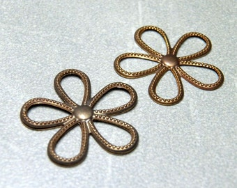 Brass Flower Link / Pendant Metal Stamping - 24mm (2)