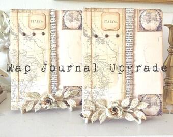 Map Travel Journal UPGRADE, Personalize Journal, Custom Honeymoon Journal Attachments, Travel Scrapbook Accesories, Personalization