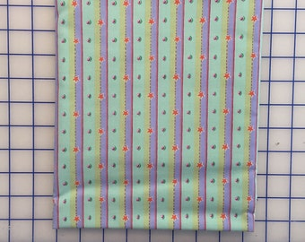 SALE Fm-07 DOT & STRIPE Mint Green, Periwinkle Blue, Celery Felicity Miller Sun Moon Collection Cotton Quilt Dress Fabric by the Yard
