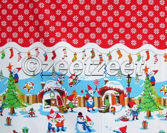 Michael Miller HOLLY JOLLY GNOMES Border Print Red Peppermint Dot Christmas Holiday Gnome Elves SnowmanQuilt Fabric - Sold by the Yard