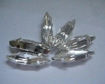 Lot of 6 15x4mm Crystal Swarovski Rhinestones in Silver Plated Sew on Settings