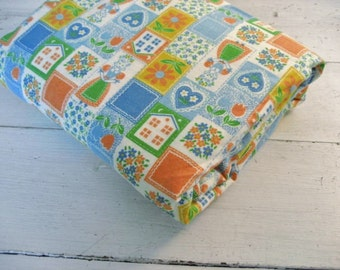 4 Yards Vintage Flannel Lightweight Fabric with Bright Folk Art Design- 45.5 inches wide