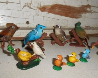 Vintage Miniature Bird Collection, Vintage Craft Birds