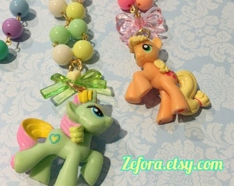 My Little Pony Mini Charm Colorful Pastel Beaded Chain Necklace, 3 colors